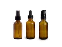 Amber Glass Boston Round Bottles 1 & 2 oz