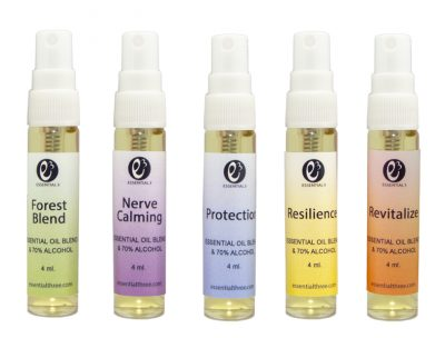e3's face mask spritzer comes in Forest Blend, Revitalize, Resilience, Protection, Nerve Calming — special blends of antibacterial and antifungal essential oils designed to sanitize.