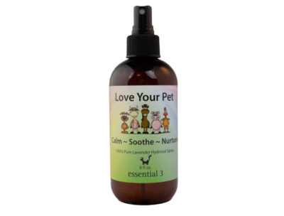Spritze a dog bed or calm a horse with e3's new Love Your Pet Lavender Hydrosol — a lovely, clean smelling Pet Spray