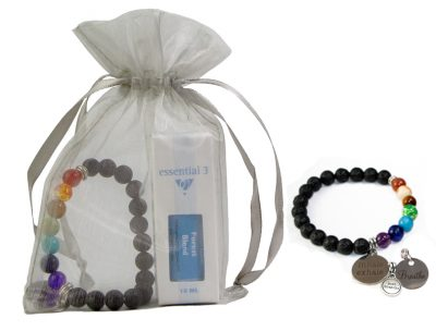 Buy e3's gift set of lava bead bracelet and your choice of essential oil.