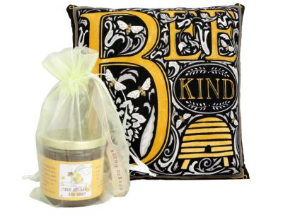 Enjoy a beautifully handcrafted Bee Joyful or Bee Kind Pillow & Honey Gift Set and help e3 support Pollinators Project Rogue Valley, as they save our bees!
