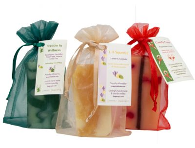 Buy three scents of natural soaps made with e3's essential oils
