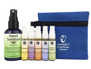 Enjoy all 5 e3 Face Mask Spritzers, plus Resilience Hand Sanitizer in a handy travel pouch.