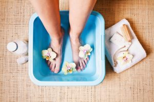 After using essential oils for skin care in your foot bath, your feet will feel refreshed and softened.