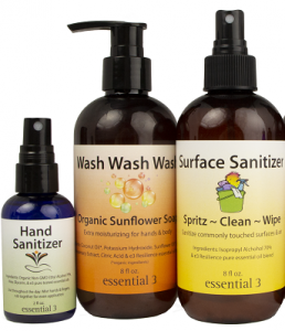 e3's Resilience line includes surface and skin sanitizers made from essential oils known for their antiviral, antibacterial properties.